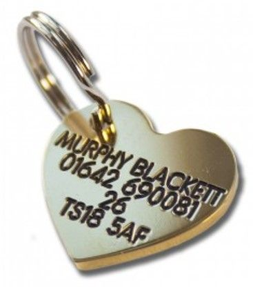 22mm Heart Shaped Brass Dog Pet Tag