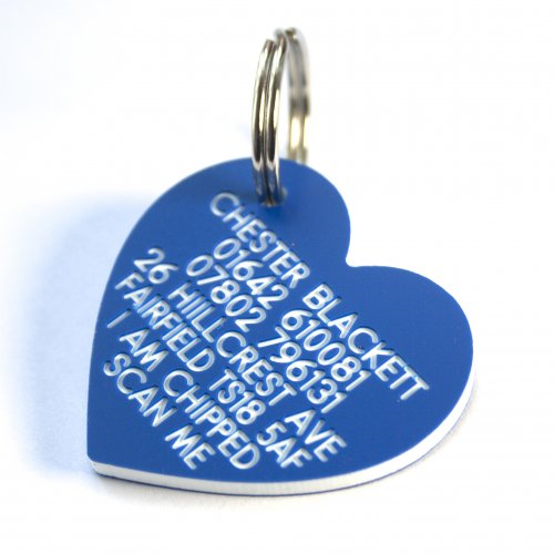 30mm Heart Shaped Plastic Dog Tag