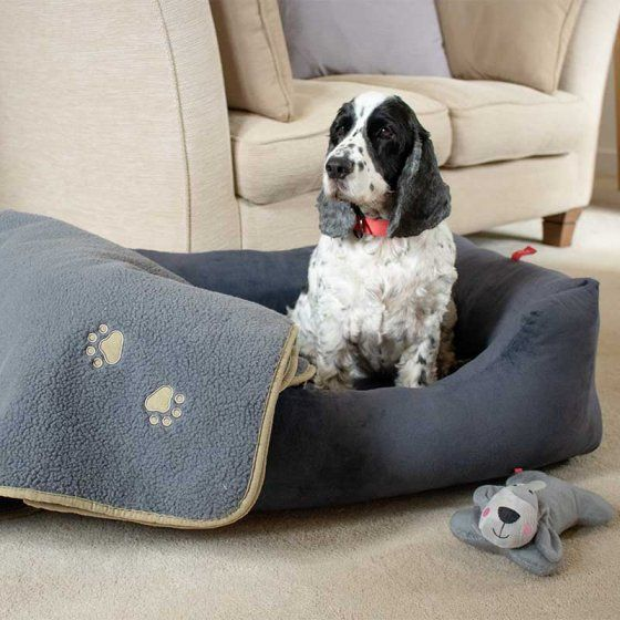 Charcoal Grey Velour Square Dog Bed