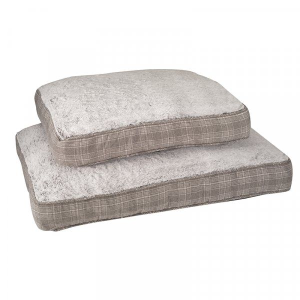 Grey Plaid Gusset Mattress Dog Bed