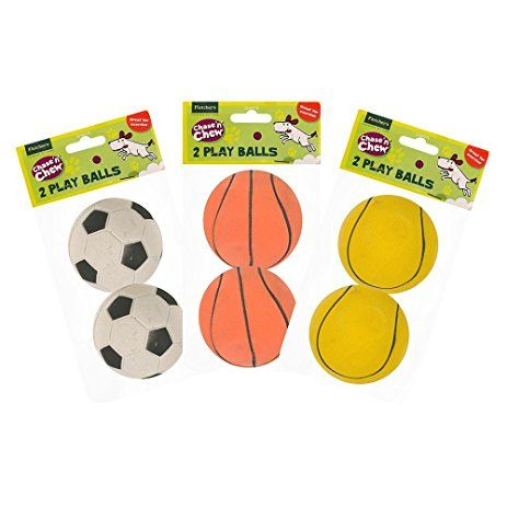 Rubber Play Dog Balls 2 Pack