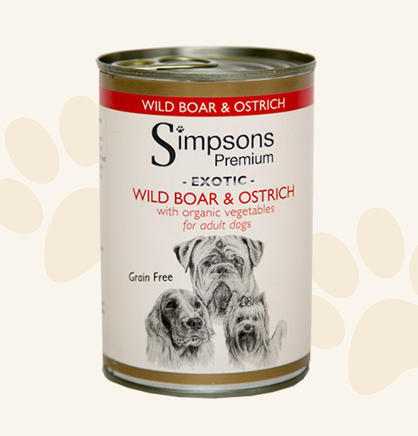 Simpsons Premium Wild Boar & Ostrich Casserole with Organic Vegetables Wet Dog Food